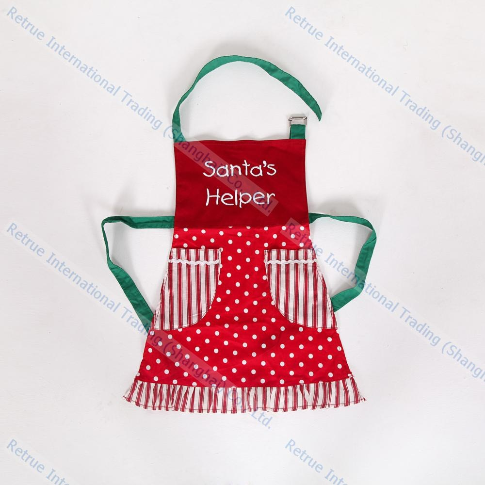 eco friendly cotton embroidery christmas kitchen cooking promotion kids apron - Christmas Apron